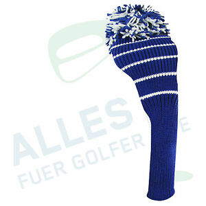 Klassische-Schlaegerhaube-aus-Strickgarn-blau-mit-weissen-Ringen-neu