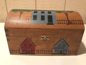 Country-Hand-Painted-Wooden-Treasure-Keepsake-Box