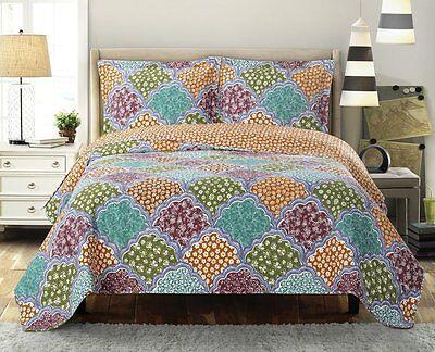 Davina Patchwork Printed Coverlet 3PC Modern Oversized Quilt /& Pillow Shams Set