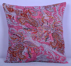 Ethnic-PINK-RALI-INDIAN-CUSHION-PILLOW-COVER-THROW-Kantha-Vintage-Decorative-Art