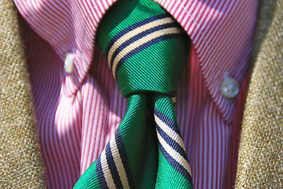 Bill Winn Vintage Bottle Green Striped Gentleman's 100% Silk Repp Necktie