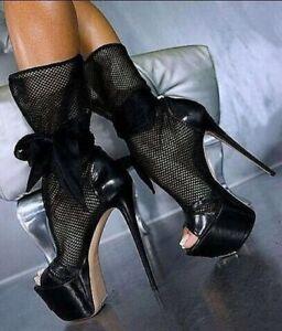 WOmen's Black Mesh High Heels Stilettos