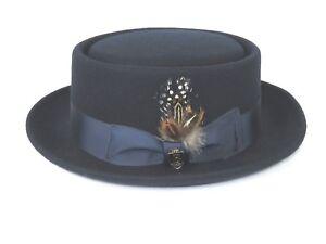 Mens-Bruno-Capelo-Dress-Hat-Australian-Wool-Crushable-Pork-Pie-Jazz-Navy-Blue