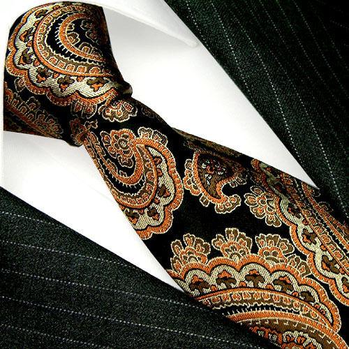 36065 LORENZO CANA Italian Tradition 100% Silk Neck Tie Floral Brown Black New