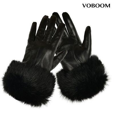 100/% Schafspelz Handschuhe Schwarz Damen Leder Handschuhe Winter Winddicht GB02
