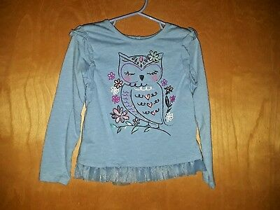 Kidtopia Girls 2pc Set-Long Sleeve Lace Side Owl with Blue Jegging