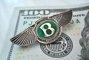 Rare ANTIQUE Vintage STERLING Silver & Green ENAMEL BENTLEY Automobile LAPEL PIN