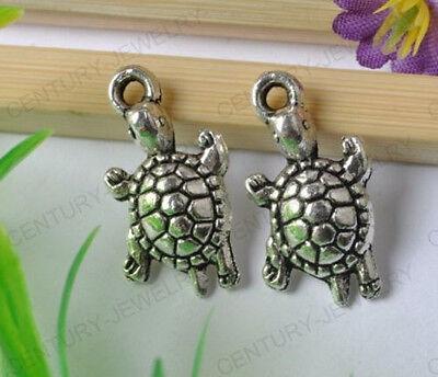 NP14 10Pcs Tibetan Silver Cute Tortoise Charms Pendant 23MM