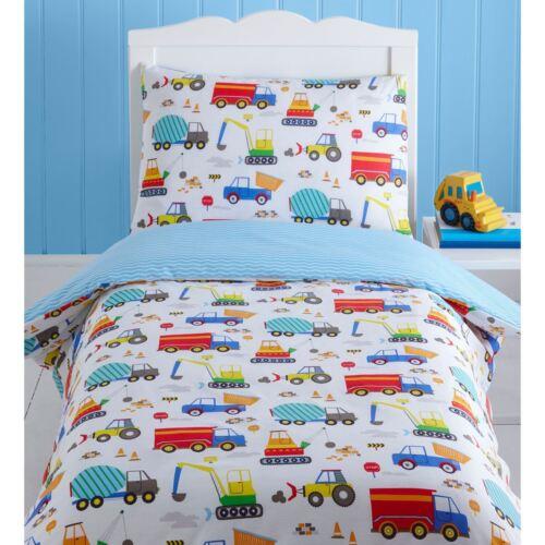 Construction Trucks Tractors Junior Baby Cot Duvet Cover Quilt Bedding Set
