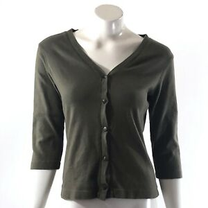 Fashion-Bug-Cardigan-Size-Medium-Olive-Green-Solid-Button-Up-V-Neck-Top-Womens