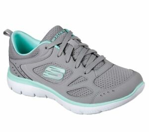 Women-039-s-Skechers-Summits-Suited-Gray-Turquoise-12982-GYTQ-with-Memory-Foam