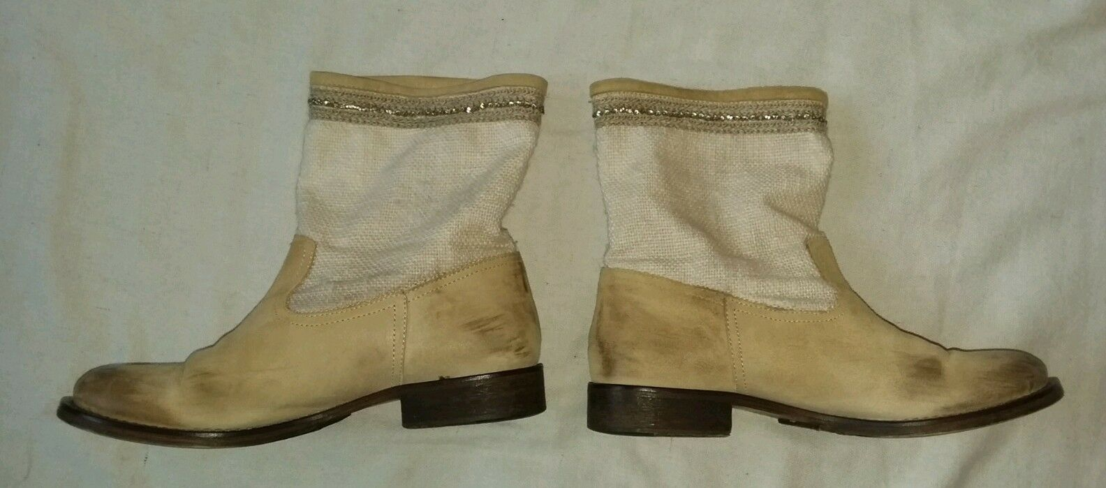 Womens Leather Boots Boots Boots Twin-set Tan Booties Woven Upper Rhinestones Low Heel 39 8 65c2a3
