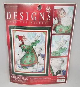 Designs-for-the-Needle-Santa-with-Doves-Cross-Stitch-Kit-Polar-Bear-Penguin-NIP