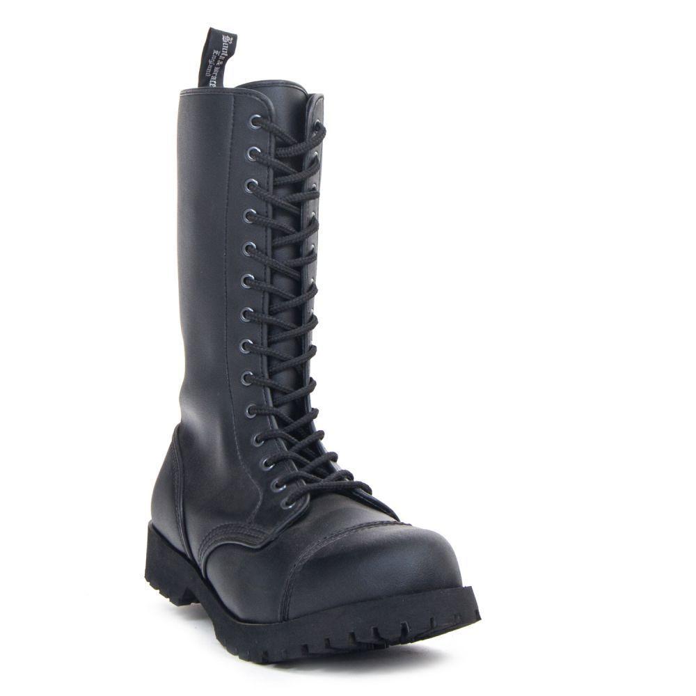 Boots & Braces 14-Loch Stiefel Vegan Boots-Stahlkappe-Unisex-Gothic-Metal-Biker