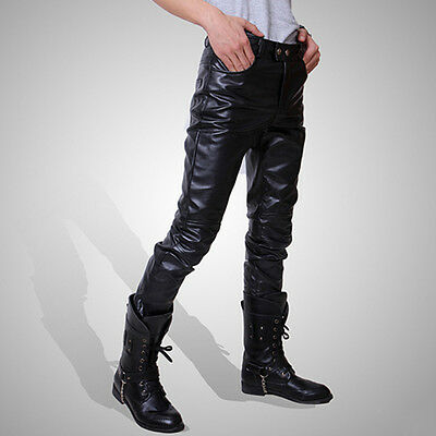 New Hot Mens Trendy Motocycle Cool Lace Up Faux Leather Trousers Slim Fit Pants