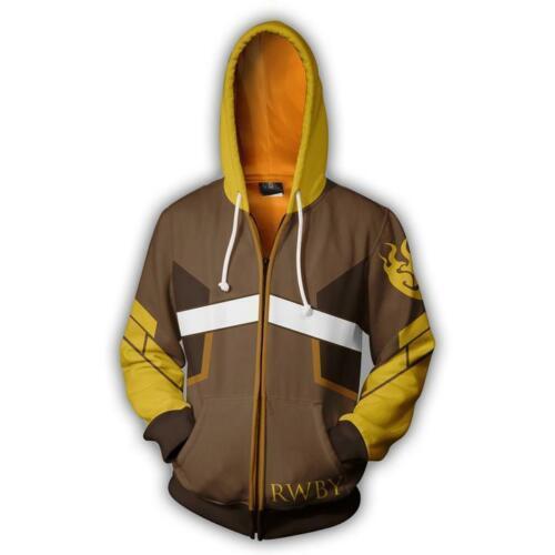 RWBY Yang Xiao Long Cosplay Hoodie Anime 3D Sweatshirt Zip Jacket Coat Costume