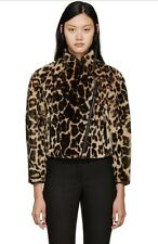 BURBERRY PRORSUM Lamb Shearling In Leopard Print Leather Trim Jacket IT 38 US 4