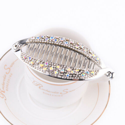Hairpin Women/'s Banana Rhinestone Accessories Crystal Hair Clip Barrette