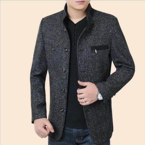 botón Slim de invierno Fit Parka abrigo de B14 Chaqueta combinación hombre largo lana largo para qEpC0g