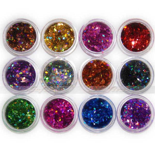 12 pcs Colors Nail Art  Acrylic 3D Rhombus Glitter Shape Sequins Powder Set