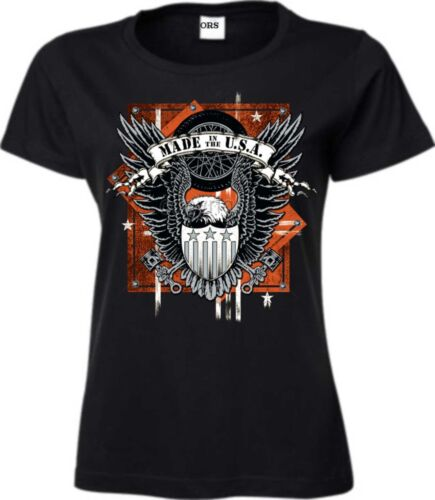 Frauen T Shirt in schwarz HD Biker-/& Choppermotiv Modell Made in USA Eagle