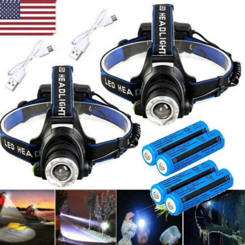 Rechargeable 350000LM Zoomable Headlight LED Tactical Headlamp Light ZH