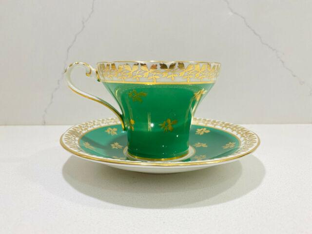 Vintage Aynsley Tea Cup & Saucer Set Green Gold English Fine Bone China