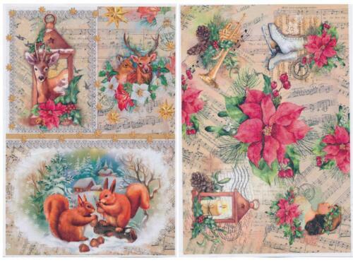 2x Reispapier Nostalgie Weihnacht DIN A4 bedruckte Motiv-Strohseide Jittenmeier