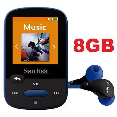SanDisk Sansa Clip Sport BLUE 8GB Digital Media Player MP3 LCD FM Radio Micro SD