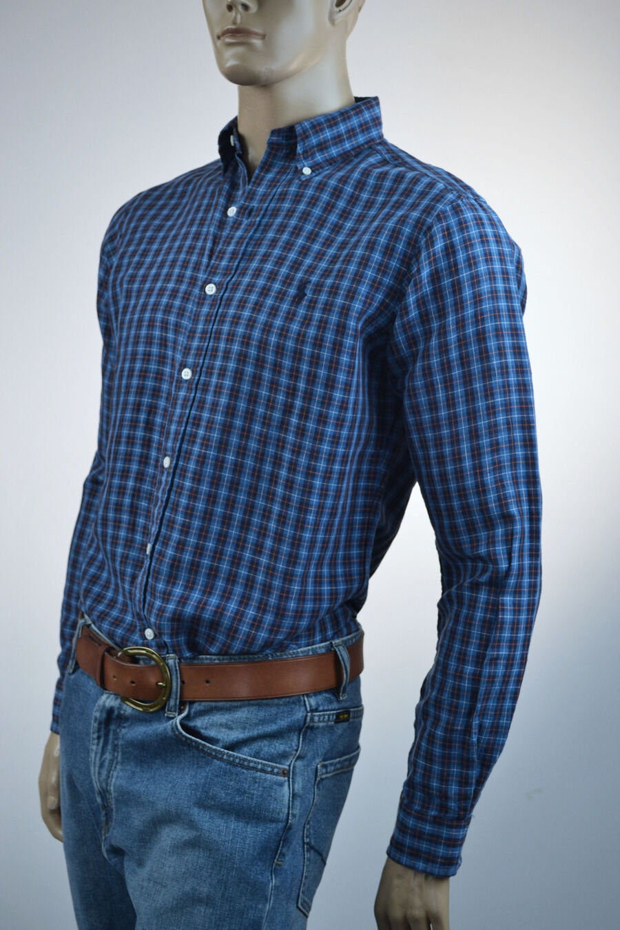 Ralph Lauren Classic Fit bluee & Red Linen Plaid Long Sleeve Shirt bluee Pony-NWT