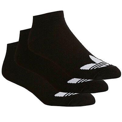 Adidas Originals 3 Pairs Trefoil Liner Black Mens Kids Socks X34231 U21