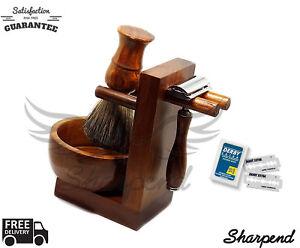 COMPLETE-CLASSIC-SHAVING-SET-Safety-Razor-amp-Brown-Badger-Brush-MENS-GROOMING-Set