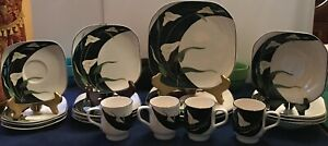 Sango-Quadrille-BLACK-LILLIES-Dinnerware-Set-Plates-Bowls-Cup-Saucer-Serving-EUC