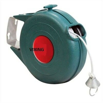 RETRACTABLE CLOTHES WASHING LINE OUTDOOR WALL MOUNTED 12M LAUNDRY WASH CLEAN