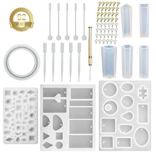 62x Silicone Mould Mold for DIY Resin Round Necklace jewelry Pendant Making tool