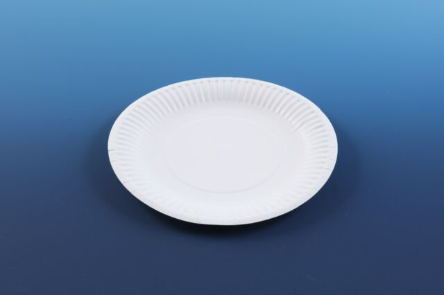 "100 Disposable 7"" Paper PLATES - - - white party ware light weight high quality"