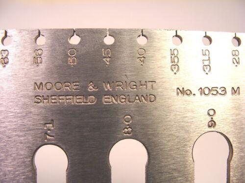 NOS Moore /& Wright UK 0.2-10.0mm machinist STANDARD WIRE GAUGE GAGE #1053M