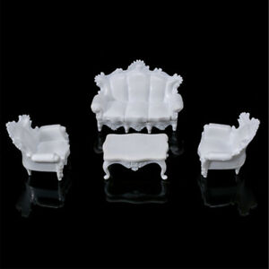 1Set Dollhouse Miniatures Living Room Furniture White Table Sofa 1:25 PLV