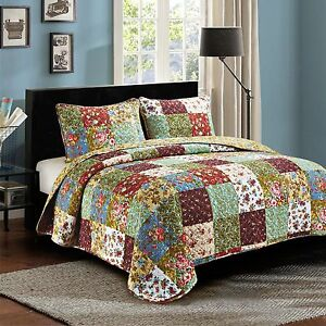 Patchwork Quilt Bedding Sets.Details About 2pc Vintage Garden Twin Patchwork Quilt Set Bedding Package Country Bed Set