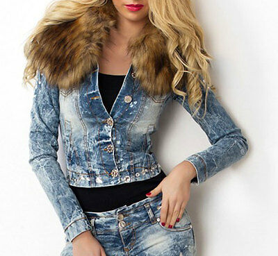 By Alina Mexton Damen Jeansjacke Jeans Blazer Kurzjacke Fellkragen Blau Xs 34 Klar Und Unverwechselbar
