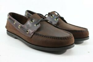Sperry-Top-Sider-Men-039-s-A-O-2-Eye-Dark-Brown-Buck-Boat-Shoes-Preowned