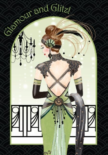 Art Deco Lady ~ Glamour and Glitz  ~   All Occasions Birthday Greetings Card