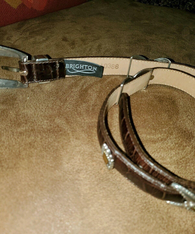 Brighton belt brown leather croc texture silver hardware western ladies sz.M/30