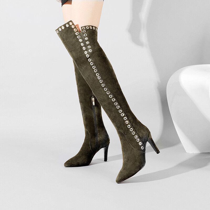 Zapatos De Fiesta ante para mujer Zapato Taco Alto Sobre Rodilla Muslo botas Puntiagudo Dedos de los pies