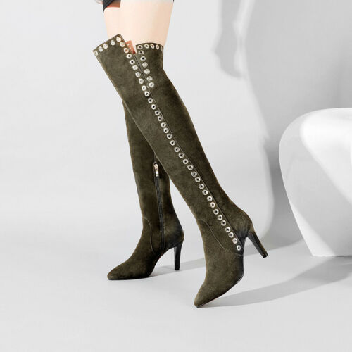 talons sur cuisse de au femmes bottes les genou aiguilles Daim D9E2IH