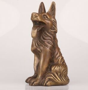 China Rare Bronze Handmade Dog Animal Statue Oversized Old Antique Collection