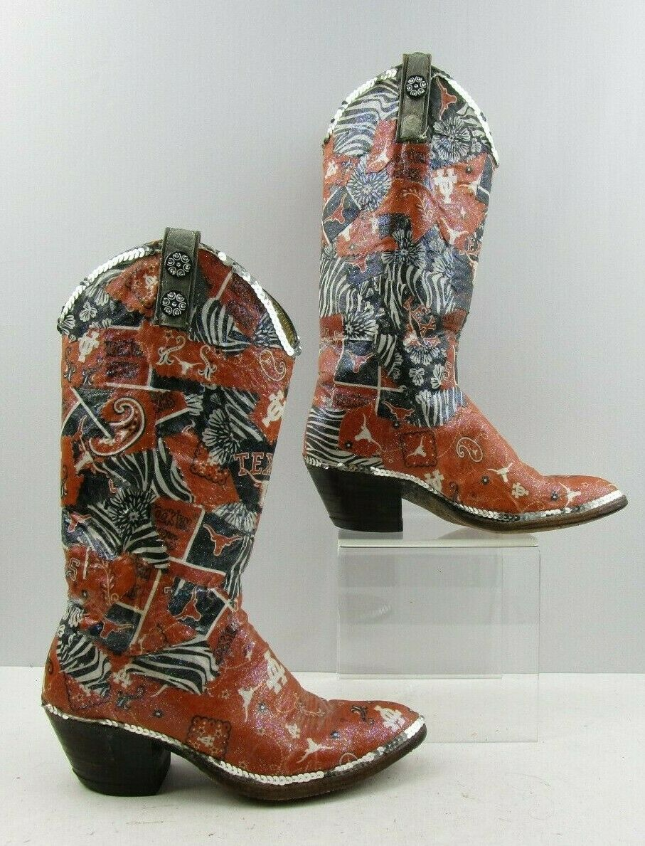 Ladies UT Austin Decorative Embelished Western Boots Size   7.5 C WIDE