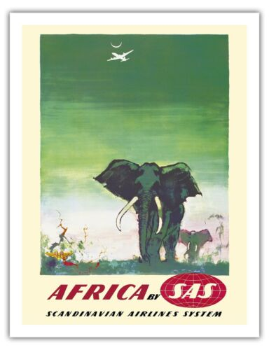 Africa Elephants SAS Airline Vintage Airline Travel Art Poster Print Giclee