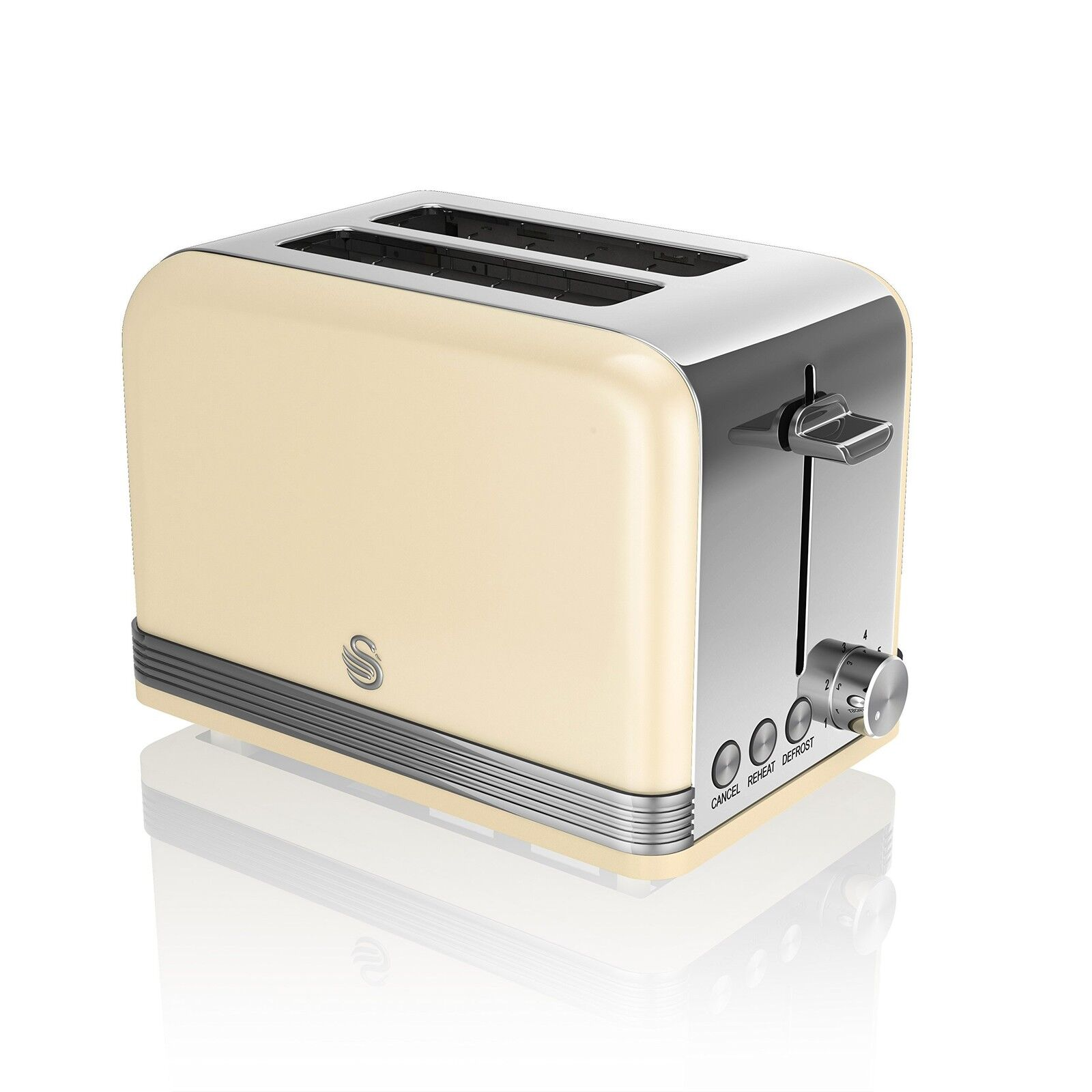 Swan Brand 2-Slice Retro Toaster 815 W Cream NEW