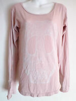 T squad the squad t shirt top pink long sleeve candy skull size M New